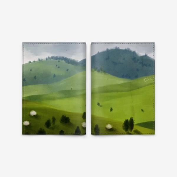 Обложка для паспорта «Пейзаж с овцами»