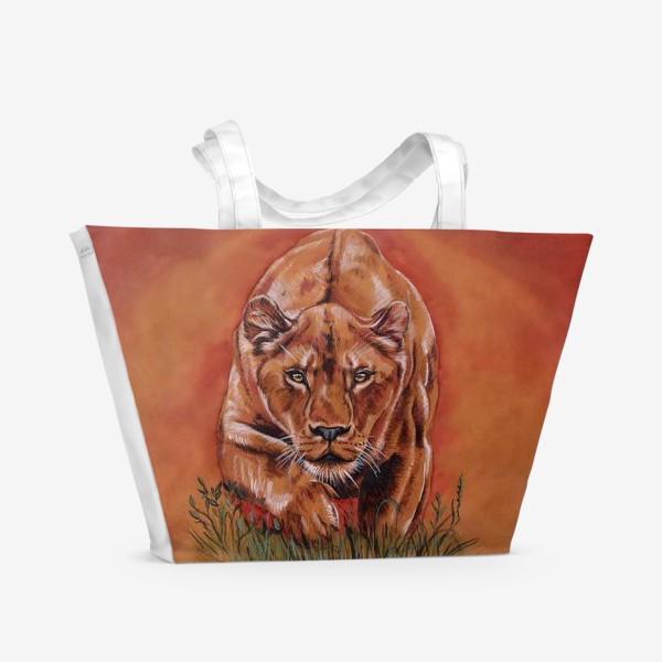 Пляжная сумка «львиная охота »