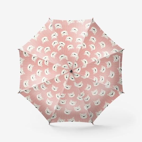 Зонт «паттерн белые мордочки кошек на розовом фоне »