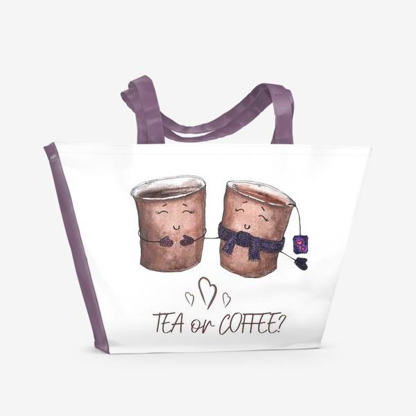 Пляжная сумка «Дуэт стаканчиков - чай или кофе?»