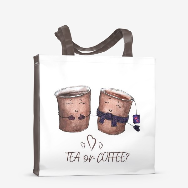 Сумка-шоппер «Дуэт стаканчиков - чай или кофе?»