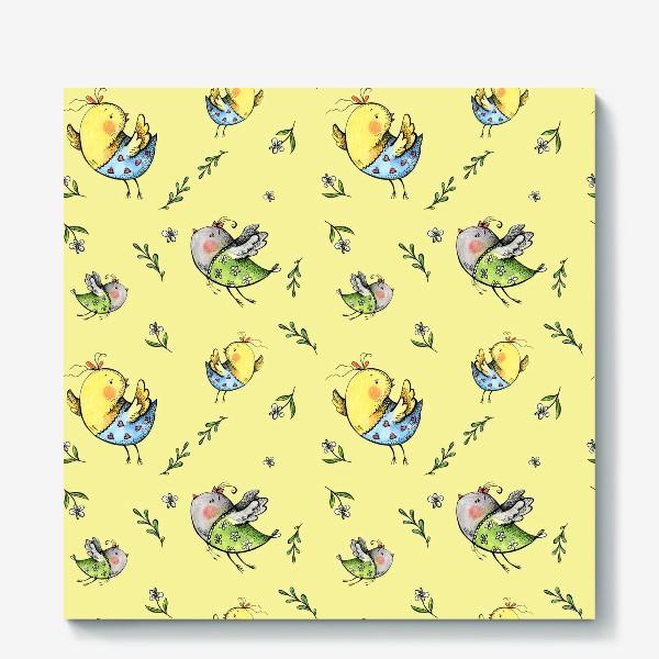 Холст «Птички-невелички на желтом»