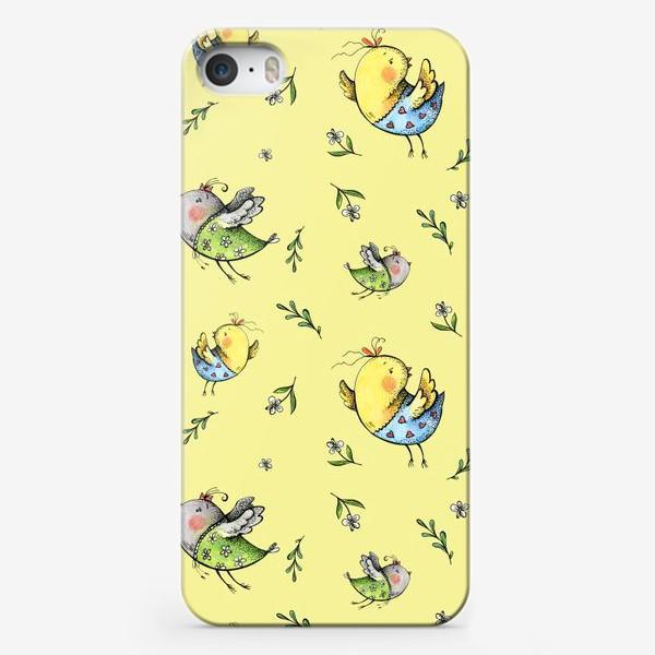 Чехол iPhone «Птички-невелички на желтом»