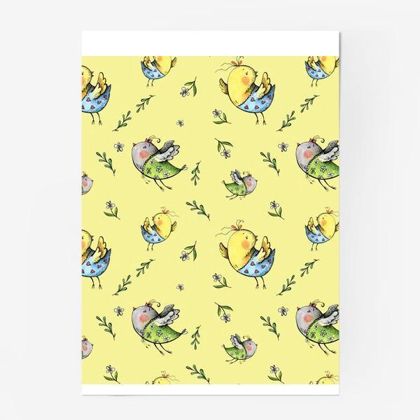 Постер «Птички-невелички на желтом»