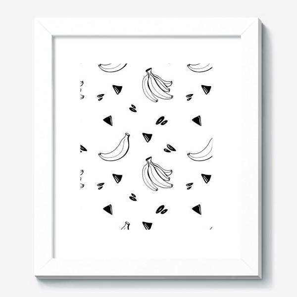 Картина «Милый черный контур банан и треугольник паттерн »