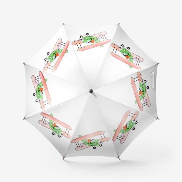 Зонт «Лис в самолете. Помаши ручкой проблемам!»