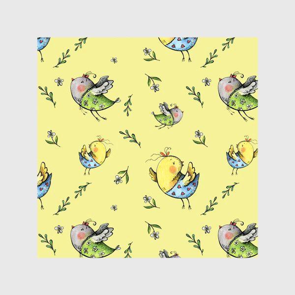Шторы «Птички-невелички на желтом»