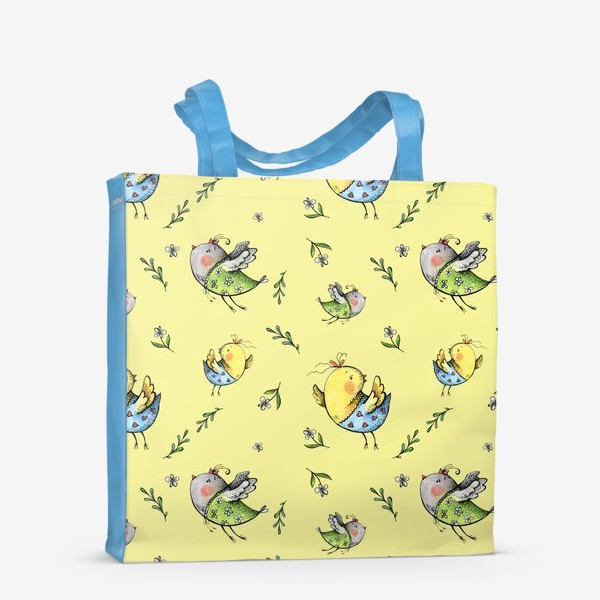Сумка-шоппер «Птички-невелички на желтом»