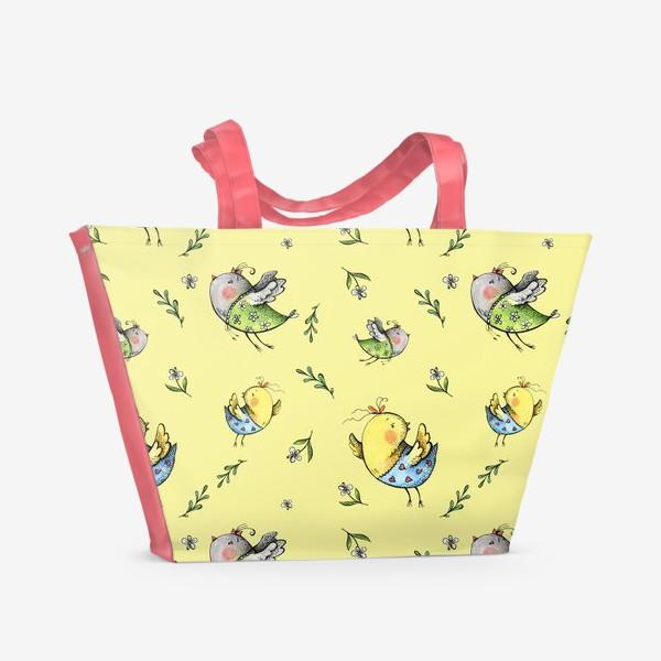 Пляжная сумка «Птички-невелички на желтом»