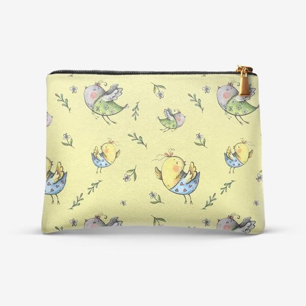 Косметичка «Птички-невелички на желтом»