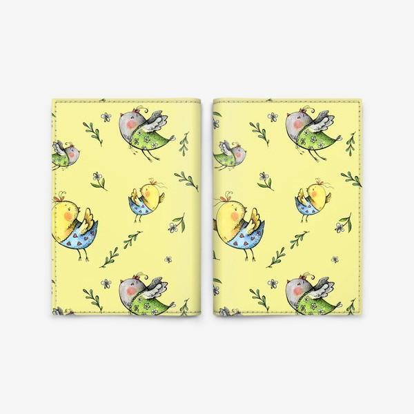 Обложка для паспорта «Птички-невелички на желтом»