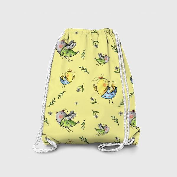 Рюкзак «Птички-невелички на желтом»