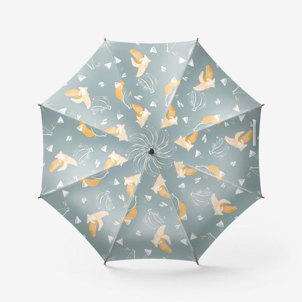 Зонт «Милый желтые бананы паттерн с контуром на бирюзовом»
