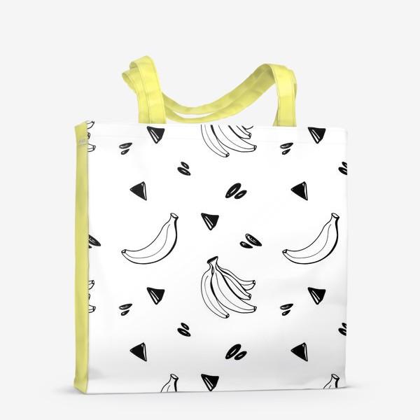 Сумка-шоппер «Милый черный контур банан и треугольник паттерн »