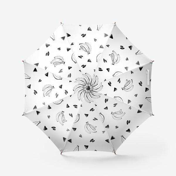 Зонт «Милый черный контур банан и треугольник паттерн »