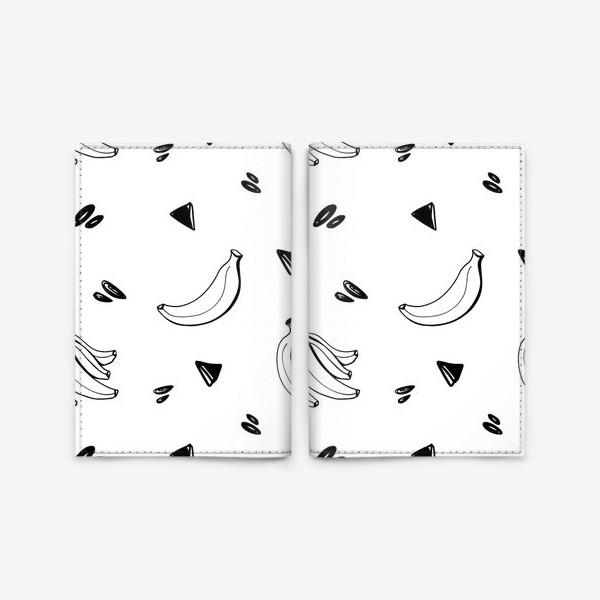 Обложка для паспорта «Милый черный контур банан и треугольник паттерн »