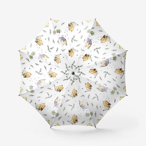 Зонт «Птички-невелички на белом»