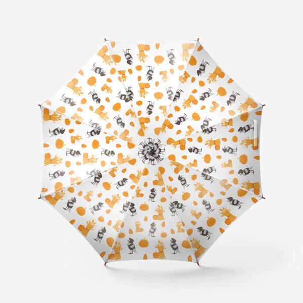 Зонт «Тыквы,урожай,вороны»