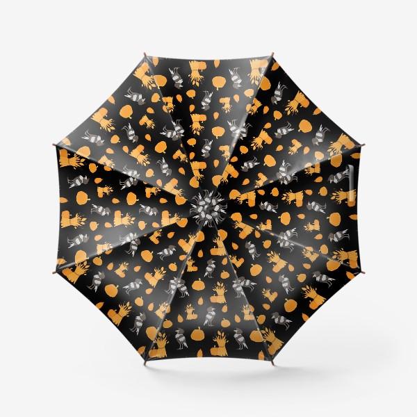 Зонт «Тыквы,урожай,вороны на черном фоне»