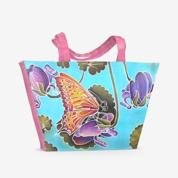 Пляжная сумка «Цикламен и бабочка »