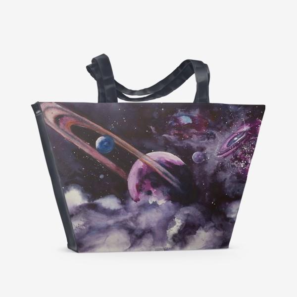 Пляжная сумка «Сиреневый космос»