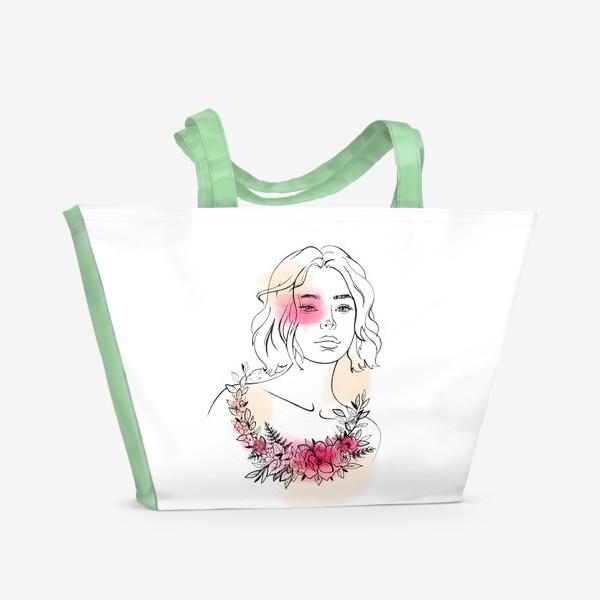 Пляжная сумка «В лучах розового заката»
