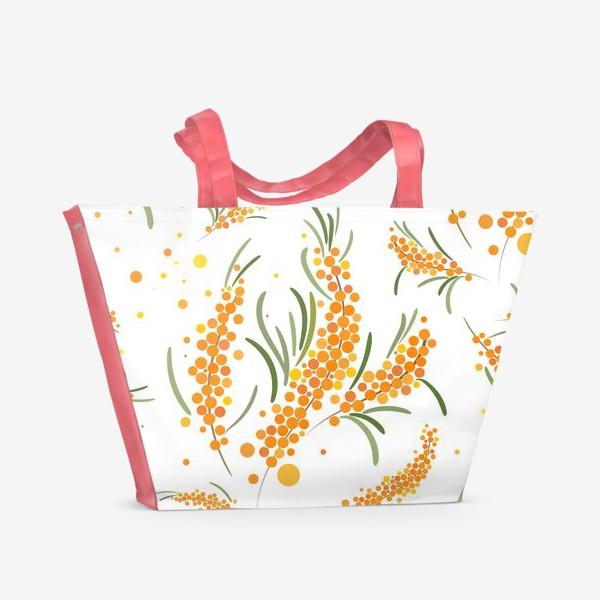 Пляжная сумка «Облепиха на белом»