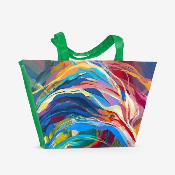 Пляжная сумка «Гуашевый фон с абстрактными линиями»