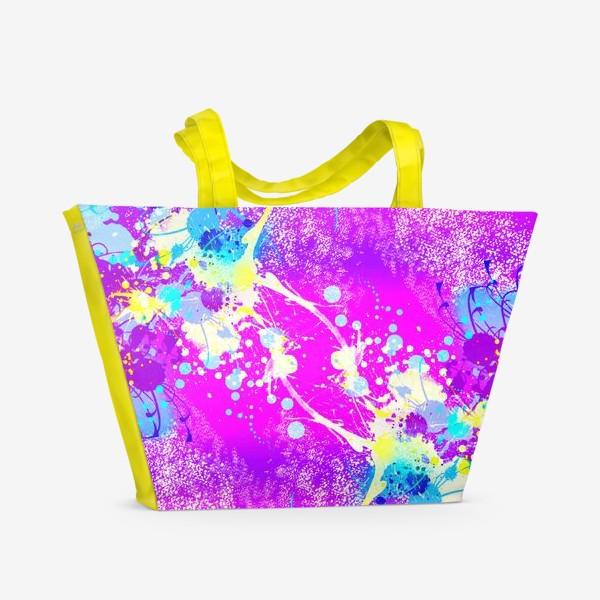 Пляжная сумка «Пятна краски на розовом фоне»