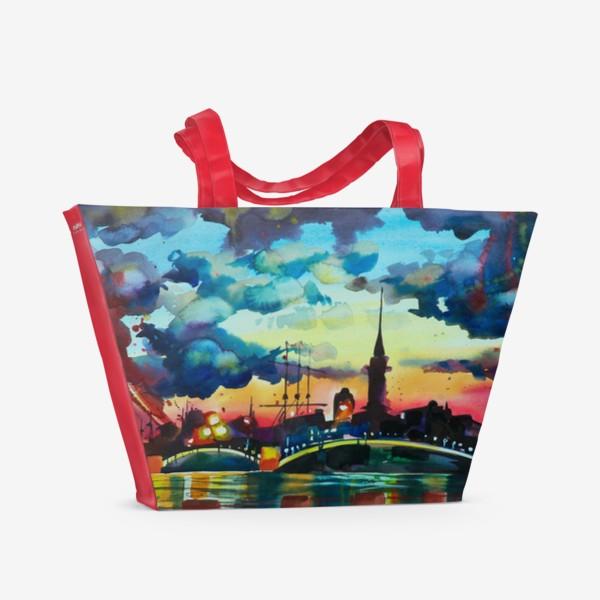 Пляжная сумка «Петропавловская крепость, акварель»