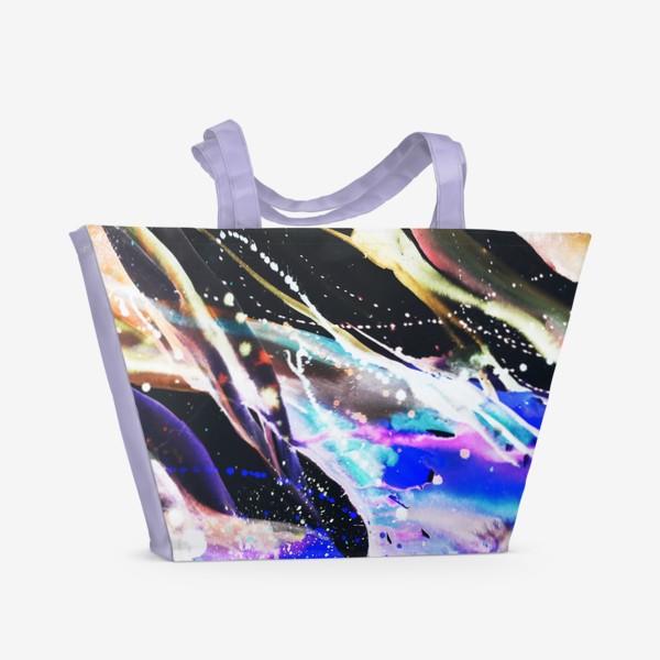 Пляжная сумка «Акварельный фон с брызгами краски»