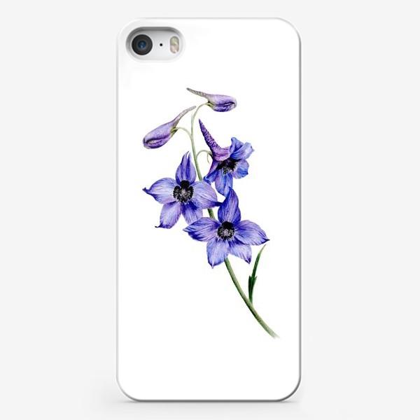 Чехол iPhone «Фиолетовые цветы ботаническая иллюстрация»