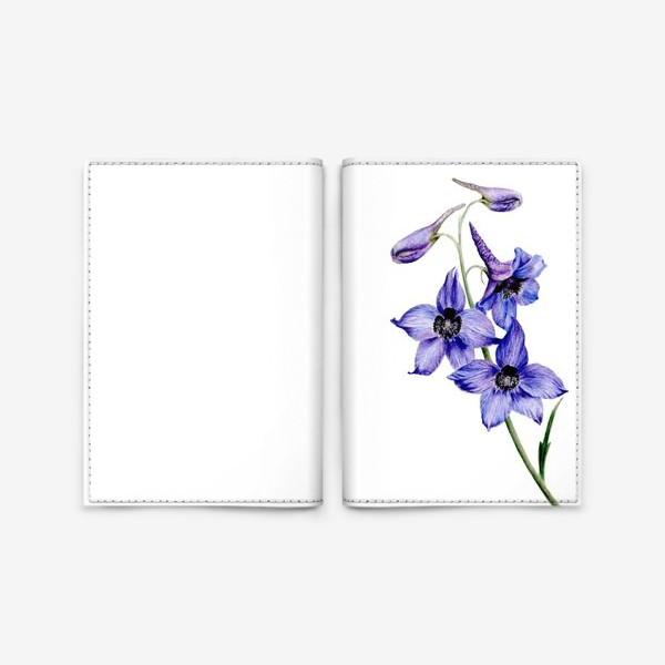 Обложка для паспорта «Фиолетовые цветы ботаническая иллюстрация»
