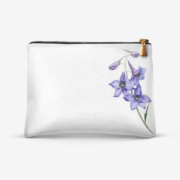 Косметичка «Фиолетовые цветы ботаническая иллюстрация»