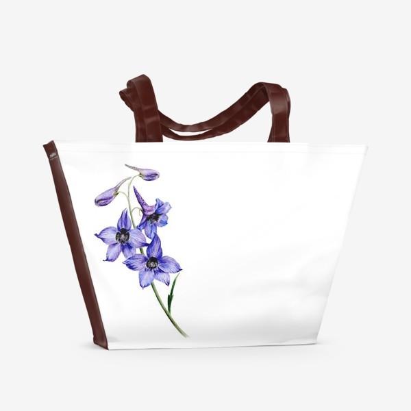 Пляжная сумка «Фиолетовые цветы ботаническая иллюстрация»