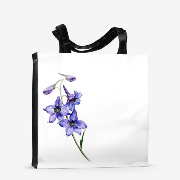 Сумка-шоппер «Фиолетовые цветы ботаническая иллюстрация»