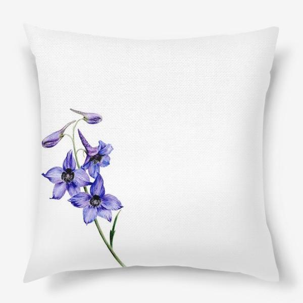 Подушка «Фиолетовые цветы ботаническая иллюстрация»