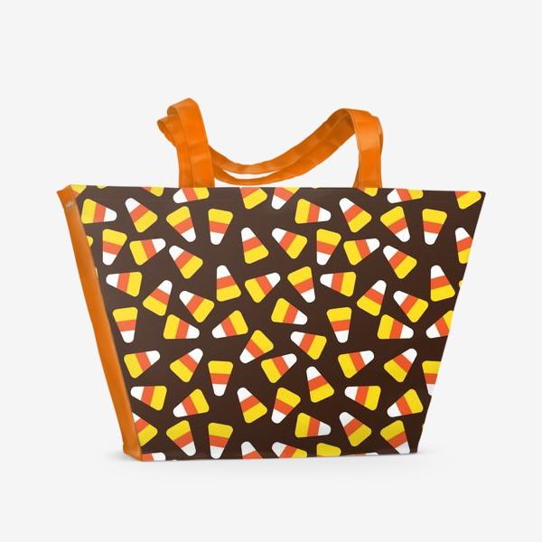 Пляжная сумка «Хеллоуин,сладости,кукурузные зерна»