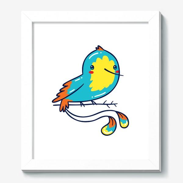 Картина «Кавайная Голубая Птичка Колибри»