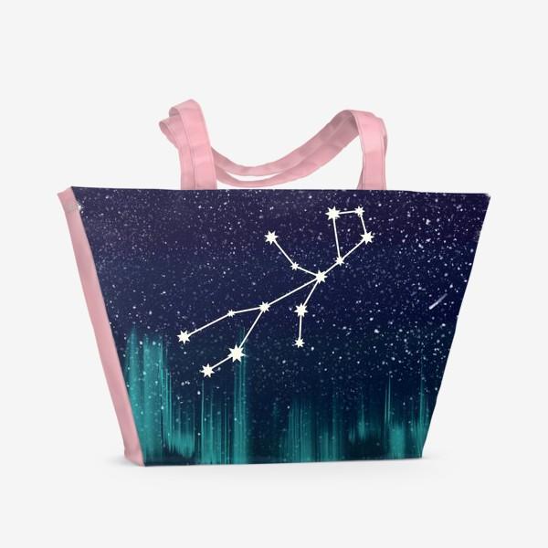 Пляжная сумка «Зодиак Дева. Северное сияние»