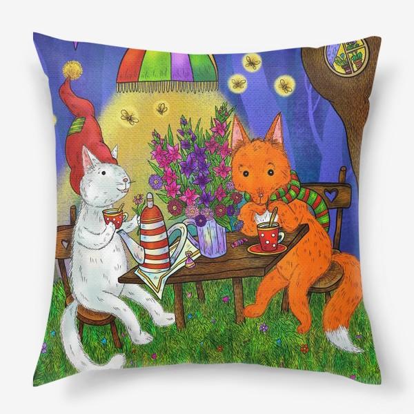 Подушка «Кот и лис пьют чай»