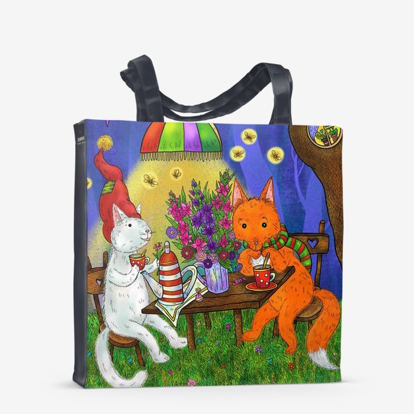 Сумка-шоппер «Кот и лис пьют чай»