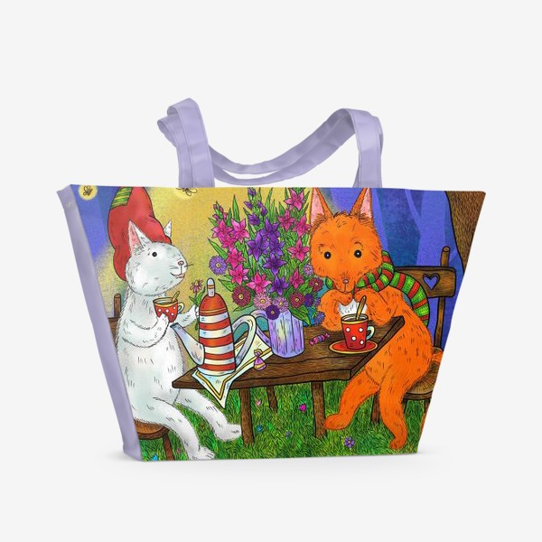 Пляжная сумка «Кот и лис пьют чай»