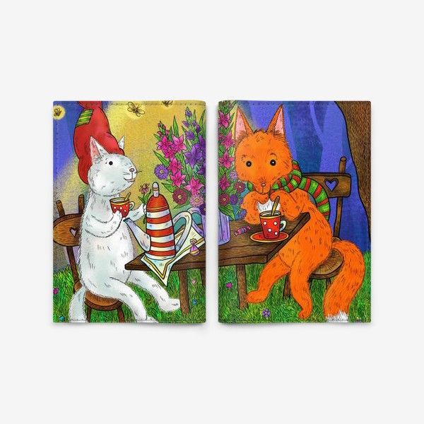 Обложка для паспорта «Кот и лис пьют чай»