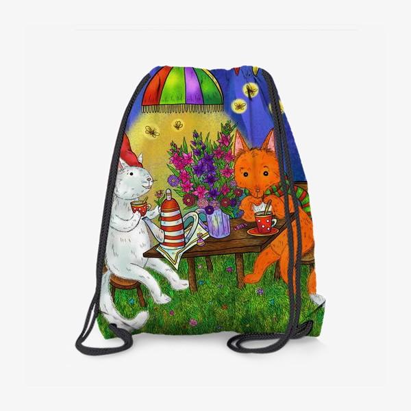 Рюкзак «Кот и лис пьют чай»