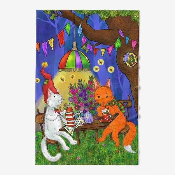 Полотенце «Кот и лис пьют чай»