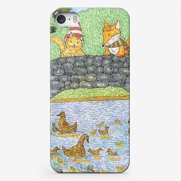Чехол iPhone «Лис и кот в парке»