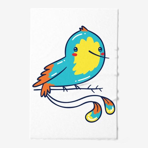 Полотенце «Кавайная Голубая Птичка Колибри»
