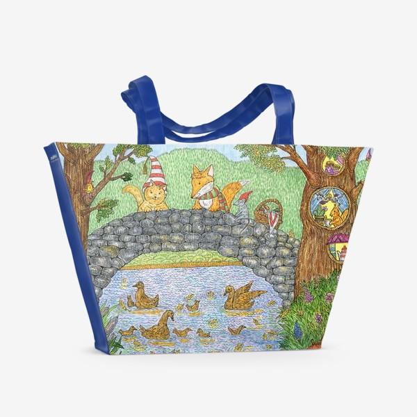 Пляжная сумка «Лис и кот в парке»