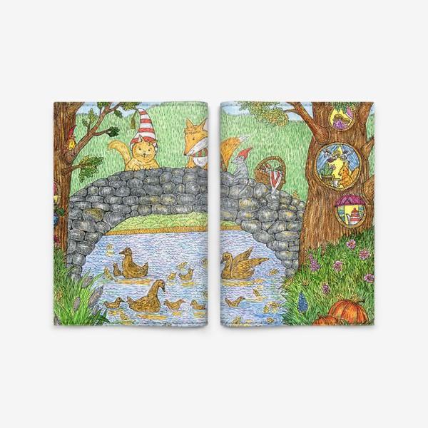 Обложка для паспорта «Лис и кот в парке»